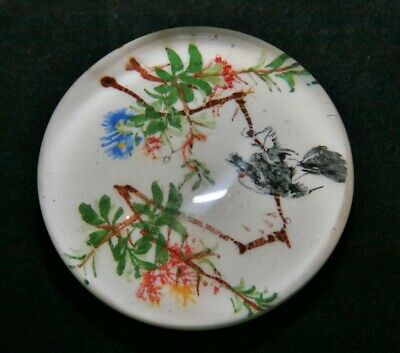 Vintage 1930's Chinese White Ground Glass Paperweight With Bird & Flowers • 45£