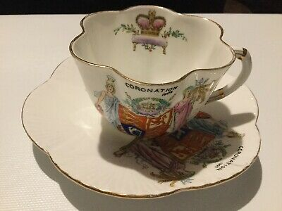 Antique Corronation Cup And Saucer 1902, Foley China • 4.99£