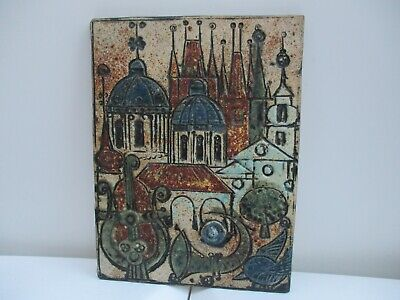 A Superb Signed C1960 Vintage Art Pottery Wall Plaque-Architectural-Buildings. • 29.99£