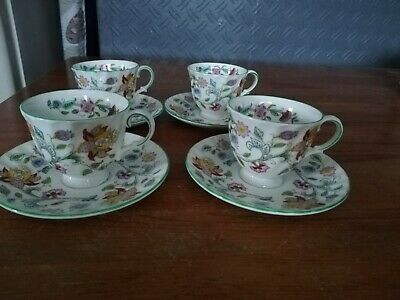 Minton Haddon Hall 4 X Coffee Cups And Saucers Green Rim (seconds) • 24£