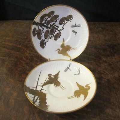 2x 1874 ROYAL WORCESTER PORCELAIN JAPANESE AESTHETIC MOVEMENT SAUCERS (no Cups) • 10£