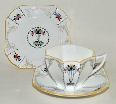 Vintage SHELLEY Tea Trio - Cup Saucer Plate - FRUIT BORDER With Yellow Rim (E) • 29.95£