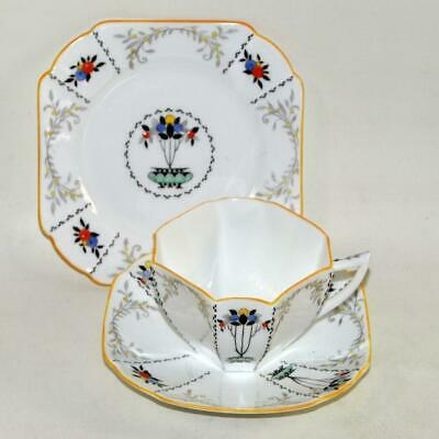 Vintage SHELLEY Tea Trio - Cup Saucer Plate - FRUIT BORDER With Yellow Rim (B) • 29.95£