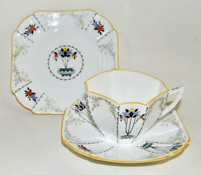 Vintage SHELLEY Tea Trio - Cup Saucer Plate - FRUIT BORDER With Yellow Rim (a) • 29.95£