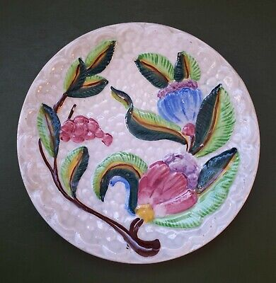Antique 19th Century Majolica Plate (Dia 200 Mm). Spring Buds & Leaves On White • 10£