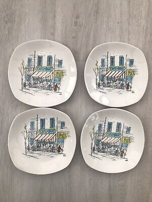 """4 X 1950s MIDWINTER HUGH CASSON CANNES 6"""" 16cm SIDE PLATES CAFE HIGH QUALITY • 18£"""