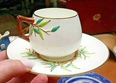Antique Cauldon (Brown Westhead And Moore) Cup & Saucer Aesthetic Bamboo Design • 89.95£