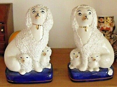 PAIR Of GOOD REPRODUCTION STAFFORDSHIRE POODLES WITH PUPS 7.5  Tall • 14.95£