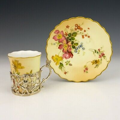 Royal Worcester Blush Ivory Silver Cherub Mounted Coffee Cup & Saucer - Lovely! • 42£