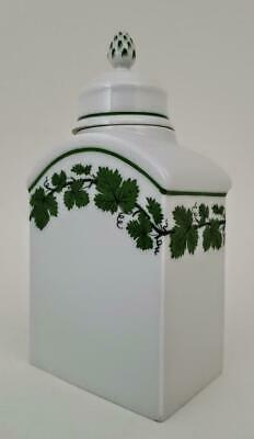 Meissen Porcelain Green Vine Leaf Hand Painted Tea Caddy - First Quality • 11.50£