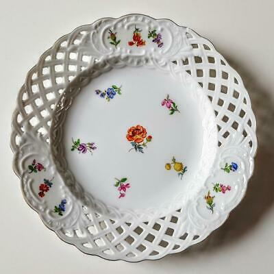 Meissen Scattered Flowers 6 Inch Reticulated Side Tea Plate - First Quality #1 • 31£