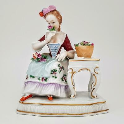 Antique 19th Century Dresden Meissen Seated Lady With Flowers Figurine #1 • 16.50£