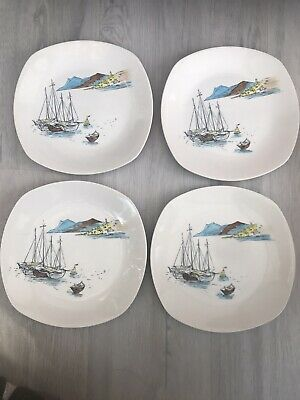 """4 X 1950s MIDWINTER HUGH CASSON CANNES 8.5"""" 22cm PLATES RIVER BOATS HIGH QUALITY • 20£"""