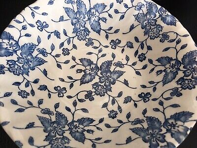 3 X Blue And White Rimmed Bowls Floral • 3£