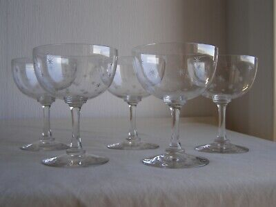 5 Antique Late Victorian Star Engraved Light Crystal Champagne Saucers • 50£