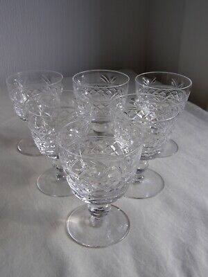 6 Vintage Stuart Crystal Imperial Cut Small Wine Glasses Signed • 30£