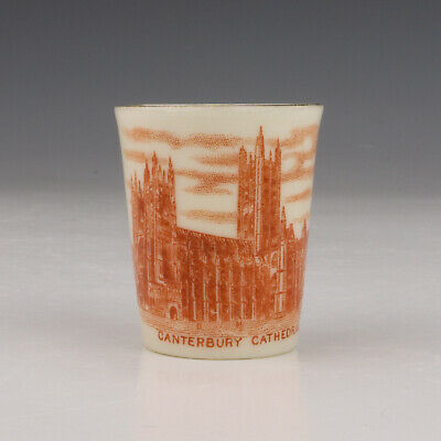 W H Goss Crested China Miniature Beaker - Canterbury Cathedral - Unusual! • 5.99£