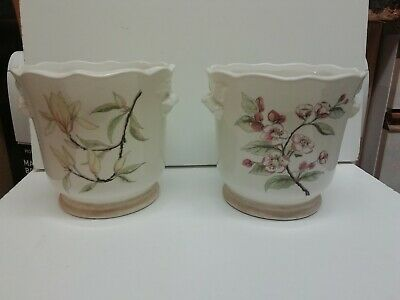 Royal Winton Pottery Pair Of Ceramic Flower Pots Ironstone Staffordshire • 24£