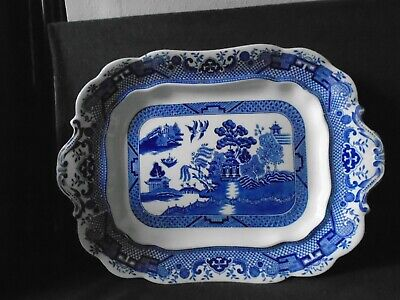 S Hancock & Sons 'Corona Ware' Willow Meat Plate • 12£