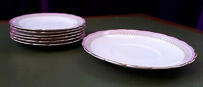 Pretty Vintage C1920 Set Of 6 Side & 1 Sandwich Plates. Gold-Tipped & Pale Pink. • 15£