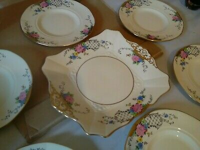Art Deco TUSCAN CHINA Plant  CAKE Or SANDWICH PLATES Set Stunning. • 19.99£