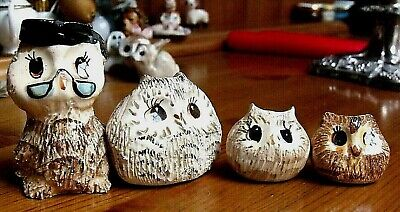 MINIATURE Owl Group Similar To PHILIP LAURESTON Unmarked 7cm Tall • 4.49£
