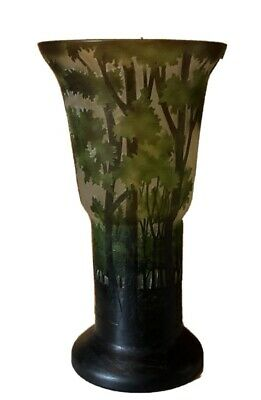 Galle Vase Art Nouveau Reproduction 12  Forest Green Etched Glass By Tozai Home • 86.54£