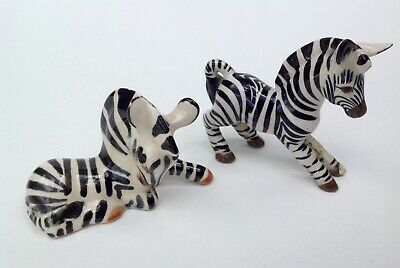2x Vintage Szeiler Pottery Zebra Figures Stood And Laying • 15£