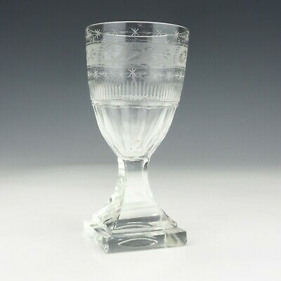 Antique Early Victorian Glass - Square Footed Base - Drinking Wine Glass • 12.50£