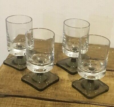 Rosenthal Linear Smoked Glass Cordial/Sherry Glasses X 4 Stamped Base • 25£