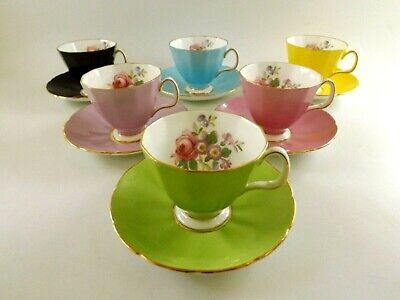 Set Of Six Adderley Floral Harlequin Coffee Cups & Saucers Ref 694/4 • 3.20£