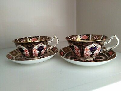 2 X ROYAL CROWN DERBY TEA CUP & SAUCER / IMARI PATTERN DATED 1924 • 51£