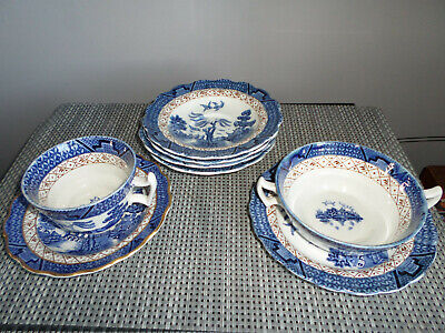 Booths Real Old Willow Cup Saucer Soup Bowls With Handles,  Plates X 6 Pieces  • 12.99£
