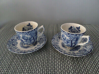 Johnson Brothers VINTAGE Mill Stream Blue Espresso Coffee Cups And Saucers X 2 • 9.99£