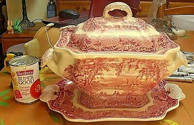 Rare Antique Mason's  Pink Vista Large Lidded Soup Tureen Underplate & Ladle • 119.95£