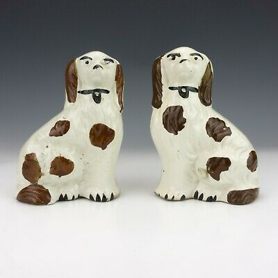 Antique Staffordshire Pottery Pair Of Dogs • 4.99£
