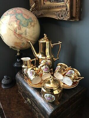 Vintage Beautiful Gilt Gold Porcelain Courting Couples Coffee Set • 48£