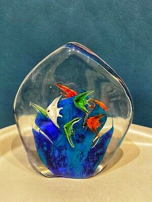 Painted Glass Sculpture Of Fish, Home Decor, Stained Glass Ornament • 25£