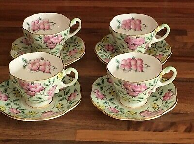 Foley Springdale Green 4 Cups And Saucers • 30£