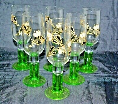 6 Art Nouveau Crystal Enamelled Champagne Prosecco Flutes Wine Glasses • 50£