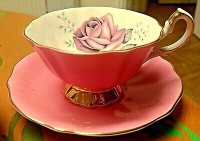 Vintage Queen Anne Pink White & Pink Rose Cup & Saucer Gilded  • 14.95£