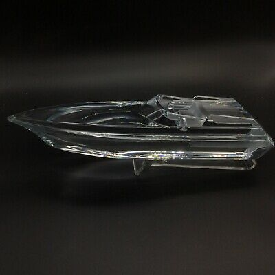 Daum France Speedboat Clear Crystal Glass Figurine Sculpture Lucite Stand  • 744.53£