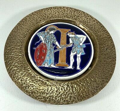 Vintage Copper Plate With Ceramic Plaque In The Middle - Greek Mythology Theme • 11.99£