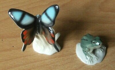 Two Delicate Unmarked China Animals - Butterfly & Frog On Lily Pad   • 4.50£
