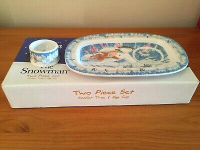 Coalport Characters - The Snowman Soldier Tray & Egg Cup • 5£