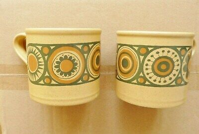 Kiln Craft Bacchus Staffordshire Ironside Vintage Pottery 2 Coffee Cups • 1.99£
