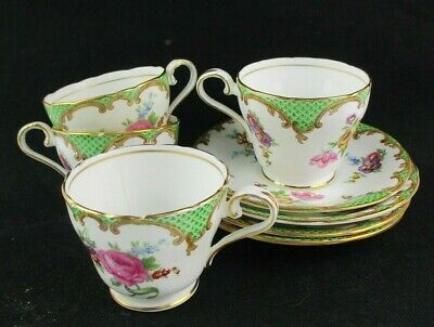Set Of 4 Vintage Aynsley Wilton Green Cups & Saucers - B971 • 12.99£
