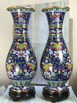 Cloisonne Mirror Pair Baluster Vases NMinGB Chinese Foliate On Blue Lotus 12.25  • 195£