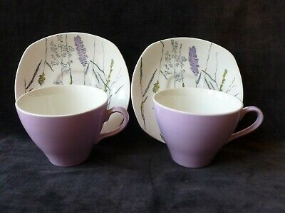 Midwinter Whispering Grass Saucers With Lilac J&G Meakin Cups  • 7.99£