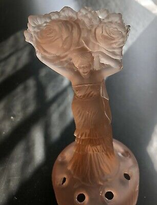 Amber Glass Flower Frog - Lady Carrying Flowers • 10£